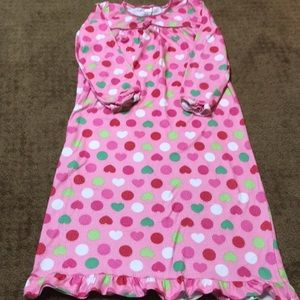 🦋Girls sz 8 nightgown pink, red, green, white